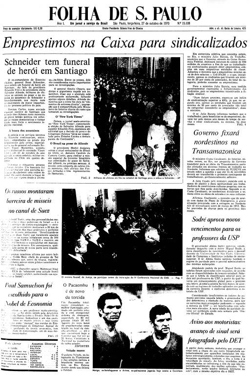 Primeira Página da Folha de 27 de outubro de 1970