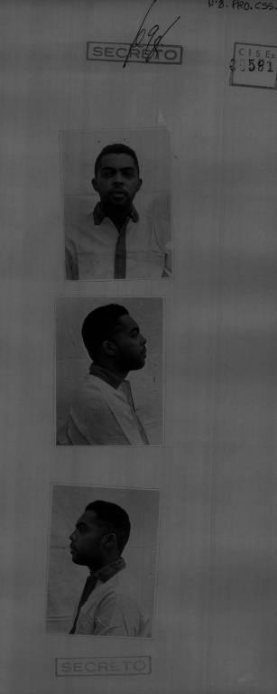 Fotos do cantor Gilberto Gil após ser preso pela ditadura militar em dezembro de 1968; as imagens integram o dossiê elaborado pelos militares sobre o músico depois da instauração do Ato Institucional nº 5