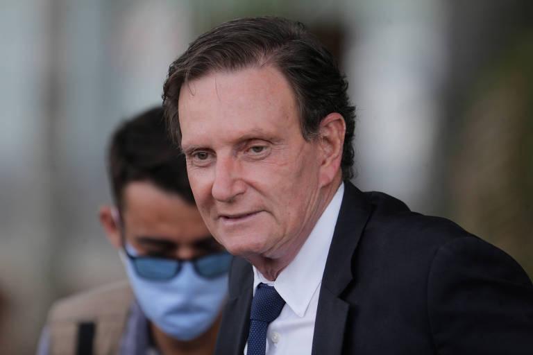 O prefeito do Rio, Marcelo Crivella, em evento no hospital de campanha no Riocentro
