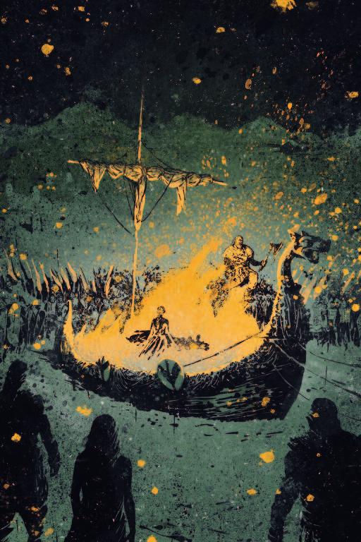 Ilustração de um funeral viking, com o barco em chamas
