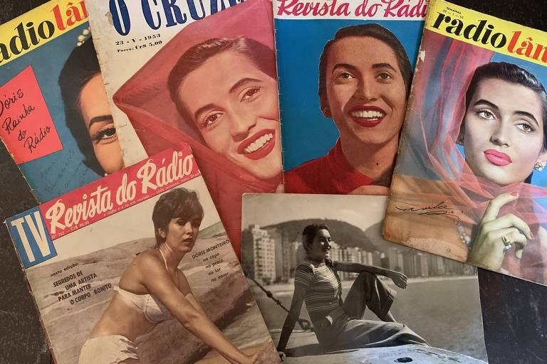 A cantora Doris Monteiro em foto no Rio e em capas de revistas dos anos 50 e 60