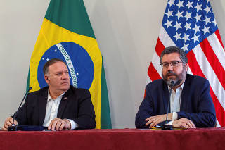 U.S. Secretary of State Mike Pompeo and Brazil's Foreign Minister Ernesto Araujo attend a news conference in Boa Vista, Roraima state
