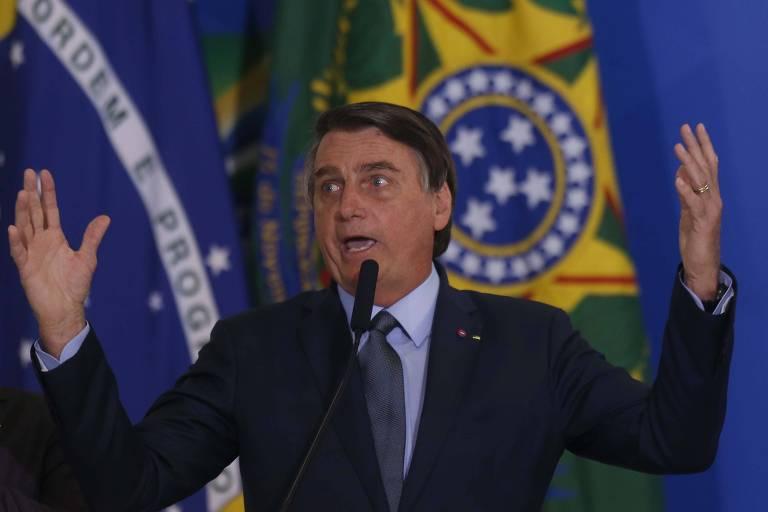 O presidente Jair Bolsonaro discursa durante a cerimônia de posse do ministro Eduardo Pazuello (Saúde)