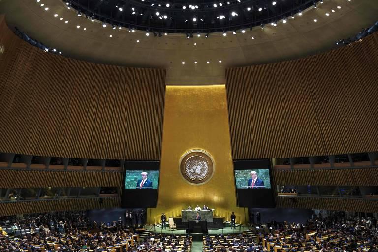 O presidente dos EUA, Donald Trump, durante seu discurso na Assembleia Geral da ONU de 2019