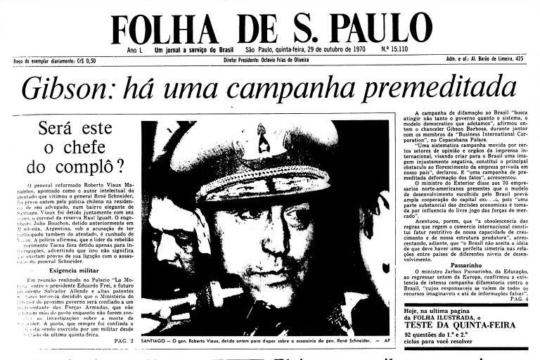 1970: General reformado é preso em investigação de atentado no Chile