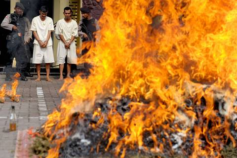 Indonesian police burn a pile of seized marijuana as the two suspects (in white) watch on, during a ceremony in Banda Aceh on March 31, 2017.  A total of 800 kg of marijuana were destroyed with a street value of 180,000 USD, according to the police in Aceh.  / AFP PHOTO / CHAIDEER MAHYUDDIN ORG XMIT: GOH1929