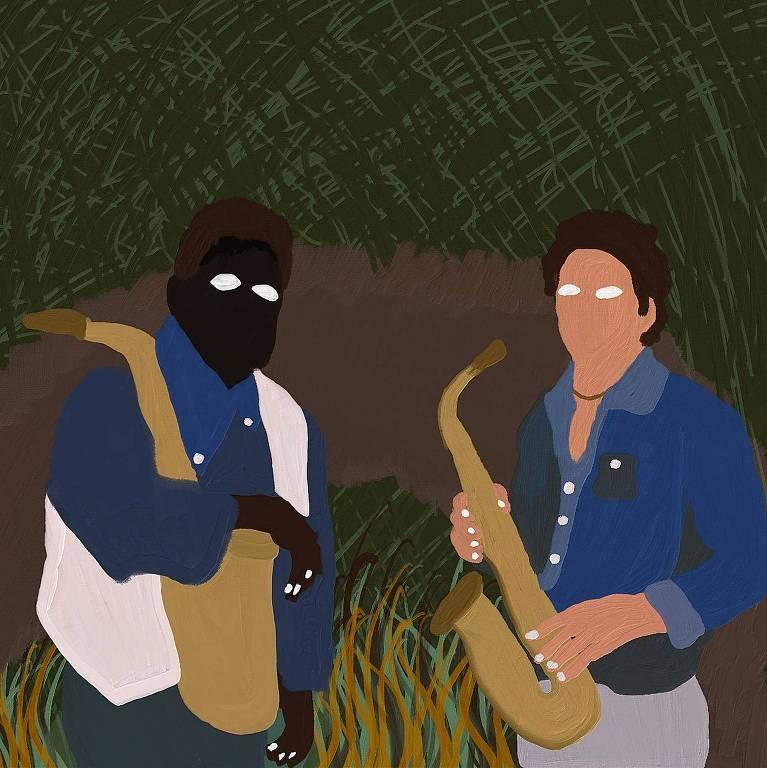 desenho de músicos com sax em área de floresta