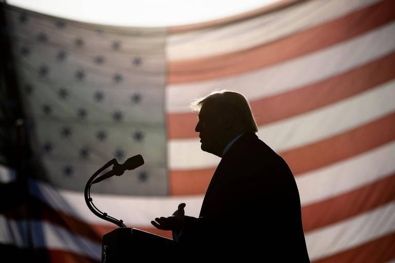 O presidente dos EUA, Donald Trump, durante comício em Bemidji, no estado de Minnesota