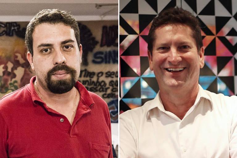 Os candidatos a prefeito de São Paulo Guilherme Boulos (PSOL) e Jilmar Tatto (PT)
