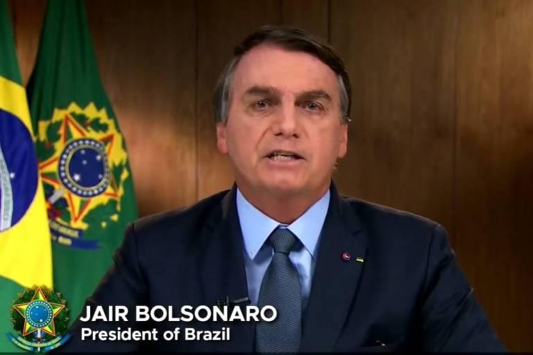 O presidente Jair Bolsonaro (sem partido) durante discurso de abertura na Assembleia Geral da ONU