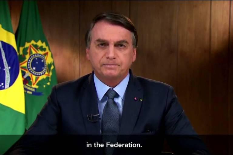 O presidente Jair Bolsonaro discursa durante debate da 75ª Assembleia Geral das Nações Unidas