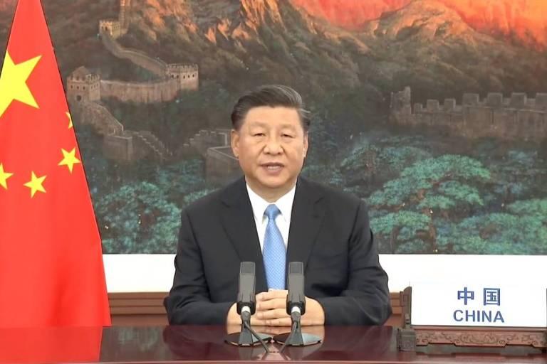 O líder chinês, Xi Jinping, durante discurso na Assembleia Geral da ONU