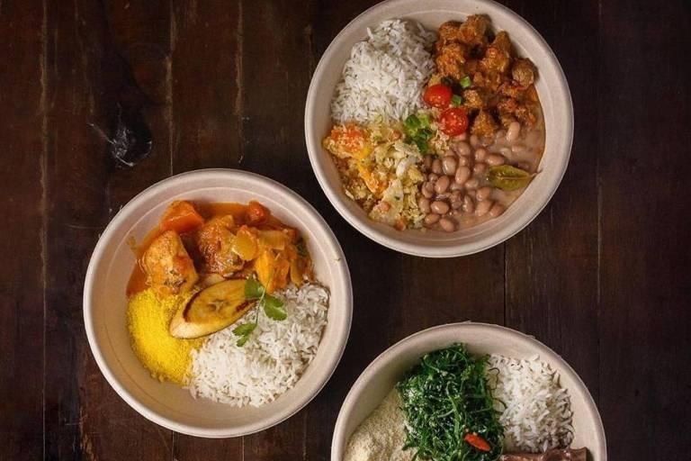 Receitas servidas com arroz do restaurante Tordesilhas, em São Paulo