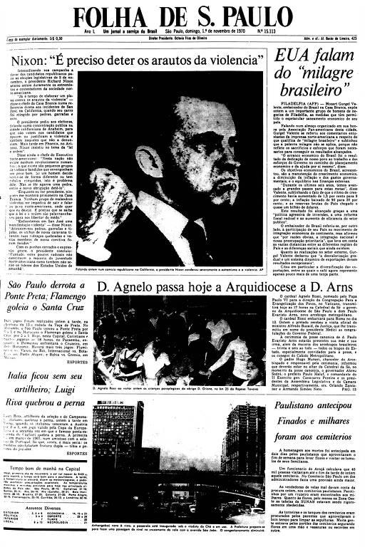 Primeira Página da Folha de 1º de novembro de 1970