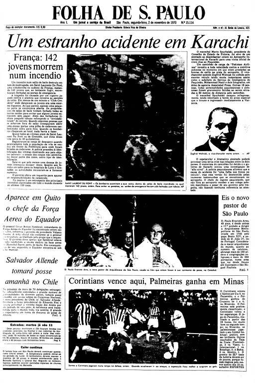 Primeira Página da Folha de 2 de novembro de 1970