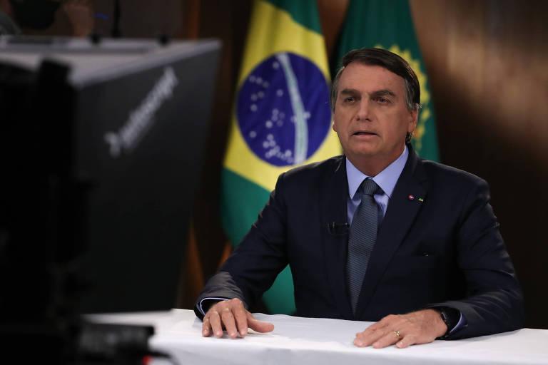 O presidente do Brasil, Jair Bolsonaro, durante gravação do discurso exibido na Assembleia Geral da ONU