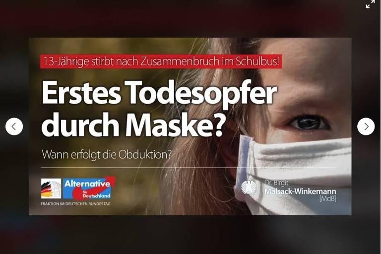 Imagem do Facebook do perfil da deputada mostra foto de garota (não a envolvida no acidente) de máscara à esquerda com frase em alemão relacionando o uso da proteção à morte da jovem