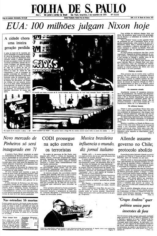 Primeira Página da Folha de 3 de novembro de 1970