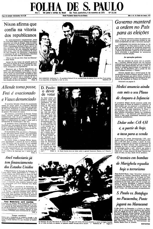 Primeira Página da Folha de 4 de novembro de 1970