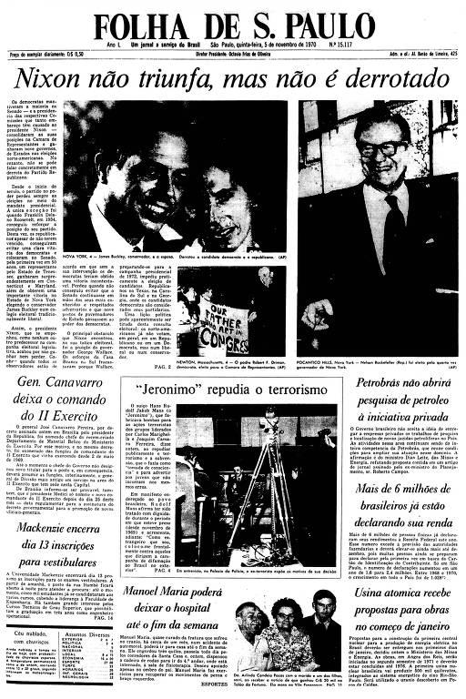 Primeira Página da Folha de 5 de novembro de 1970