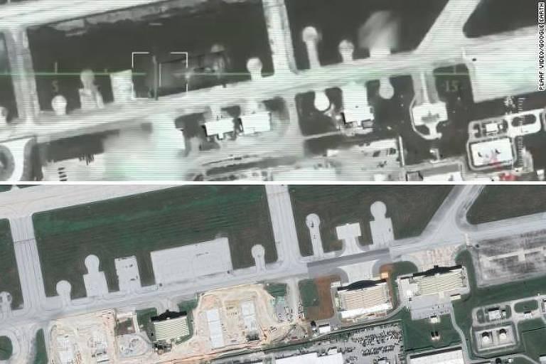 Na parte de cima, trecho do vídeo divulgado pela Força Aérea chinesa; abaixo, base aérea norte-americana em Guam