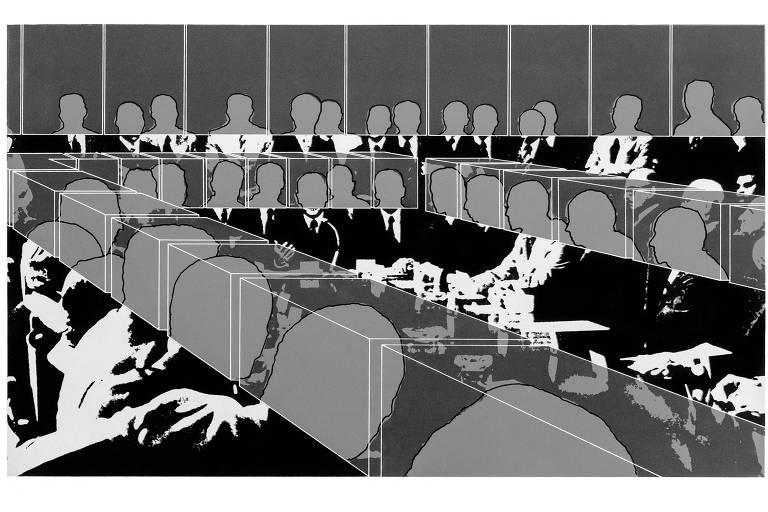 ilustração de homens sem rosto num grande escritório