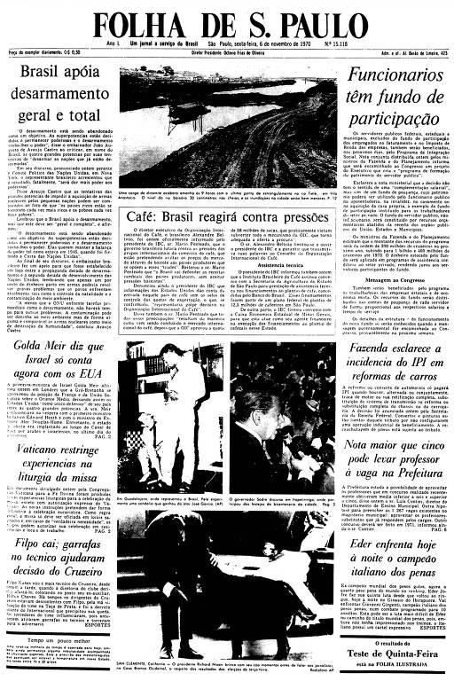 Primeira Página da Folha de 6 de novembro de 1970