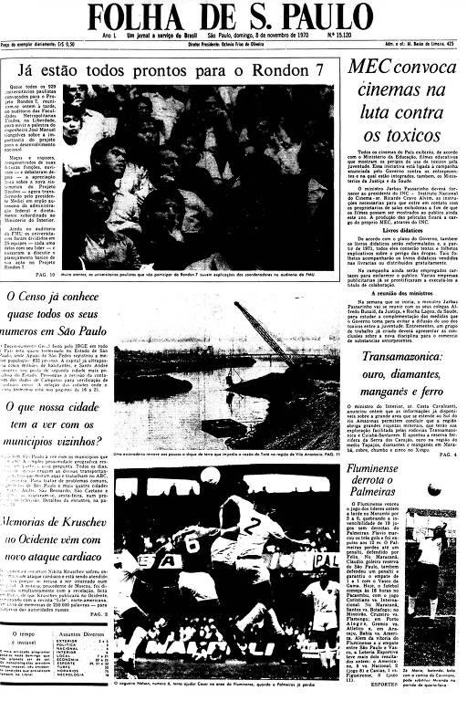 Primeira Página da Folha de 8 de novembro de 1970