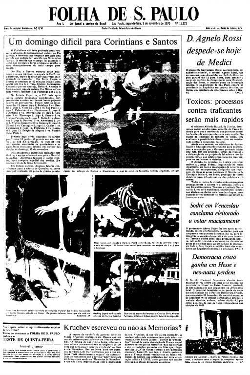Primeira Página da Folha de 9 de novembro de 1970