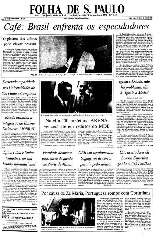 Primeira Página da Folha de 10 de novembro de 1970