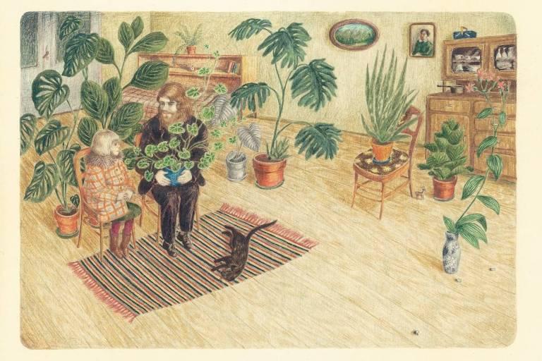 ilustração de casal em sala cheia de plantas