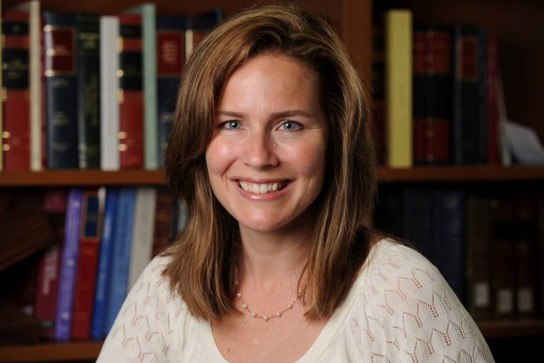 A juíza Amy Coney Barrett, favorita para ocupar a vaga de Ruth Bader Ginsburg na Suprema Corte dos EUA