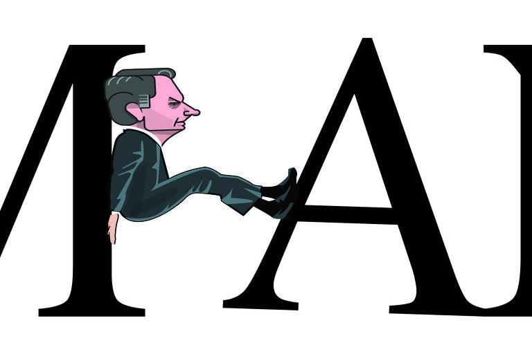 Na ilustração, as letras M, A, N e o começo de outra letra, indicando que a palavra seja MANCHETE. Entre as letras M e A, um desenho do presidente Jair Bolsonaro se apoia entre as duas letras