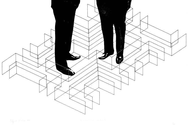 ilustração de pés de executivos sobre espécie de labirinto em formas geográficas