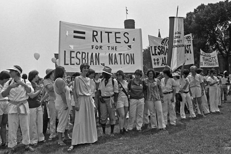 Lésbicas também realizaram manifestações e debates em defesa dos direitos das mulheres nos Estados Unidos. Esta foto é de 1978