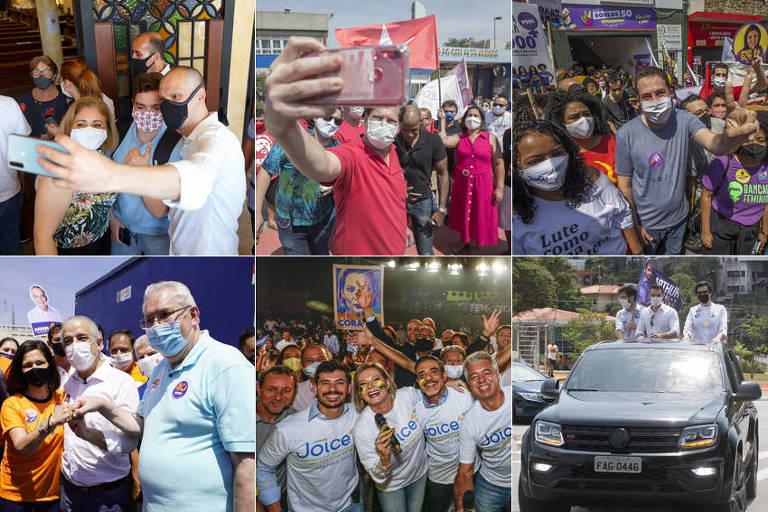 Candidatos a prefeito de SP em campanha neste domingo (27)