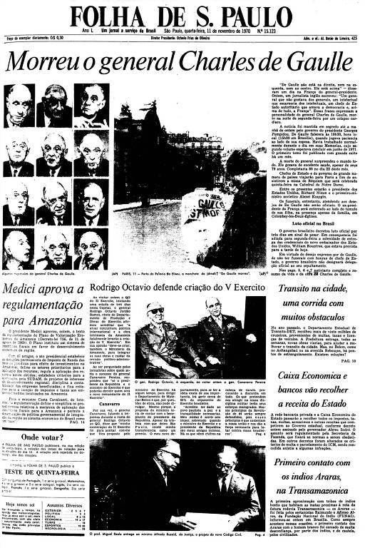 Primeira Página da Folha de 11 de novembro de 1970