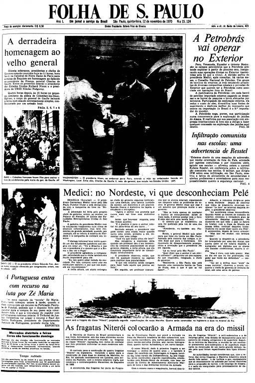 Primeira Página da Folha de 12 de novembro de 1970