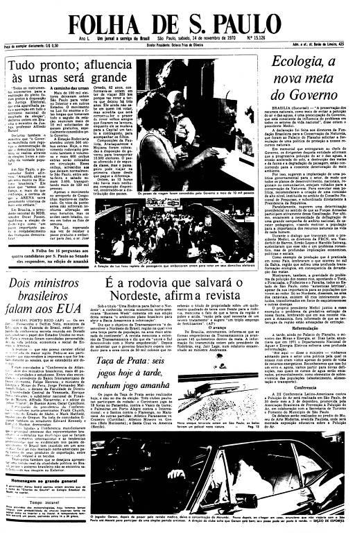 Primeira Página da Folha de 14 de novembro de 1970