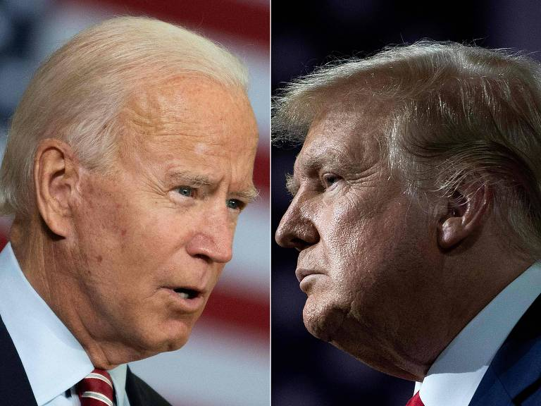retratos de Joe Biden (esq.) e Donald Trump debaterão pela primeira vez na terça (29)