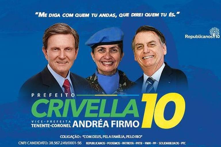 Santinho de Crivella traz Bolsonaro e a tenente-coronel Andréa Firmo com uniforme da ONU