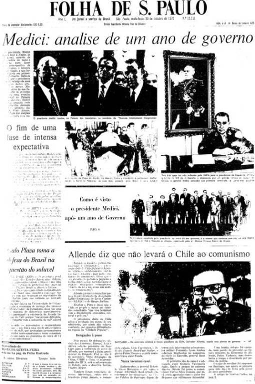 Primeira Página da Folha de 30 de outubro de 1970