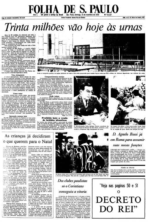 Primeira Página da Folha de 15 de novembro de 1970