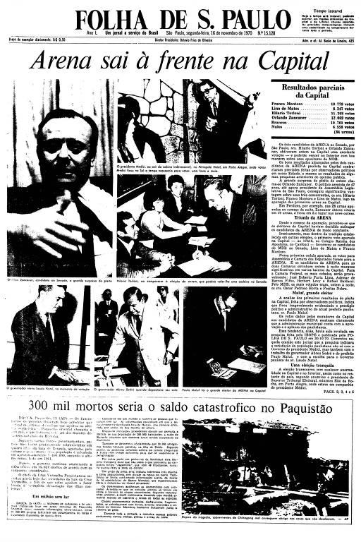 Primeira Página da Folha de 16 de novembro de 1970