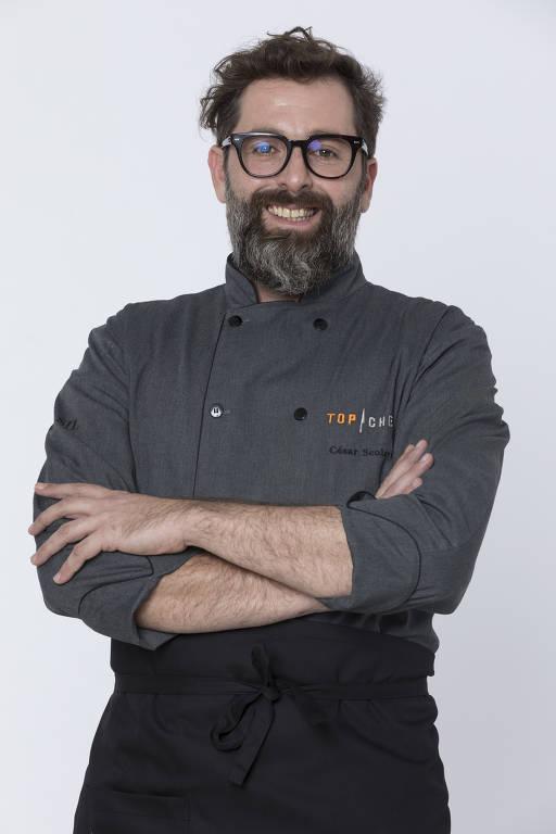 """César Scolari, 39 anos, Nasceu em Alvorada do Sul (PR) e mora em São Paulo (SP). """"Participar do 'Top Chef' é um sonho e uma oportunidade única de mostrar o meu trabalho para a minha equipe."""""""