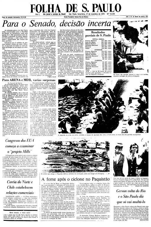 Primeira Página da Folha de 17 de novembro de 1970