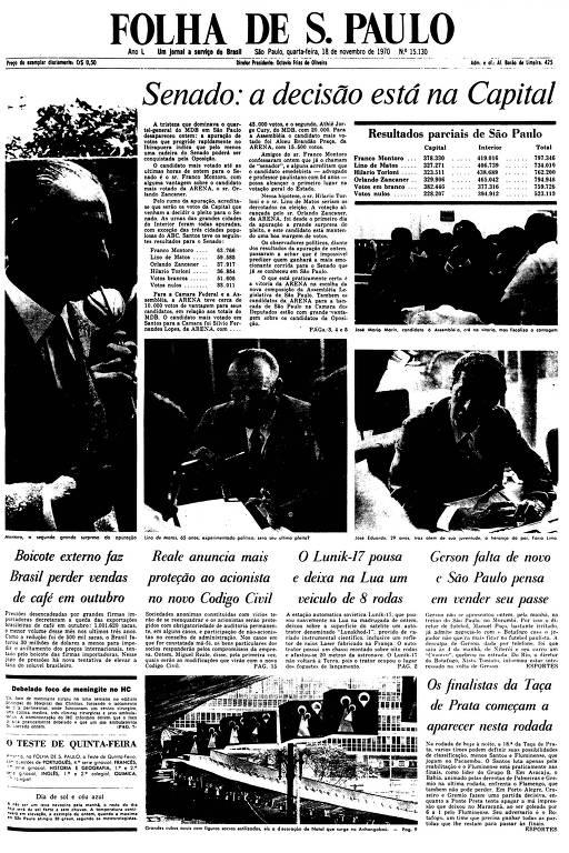 Primeira Página da Folha de 18 de novembro de 1970