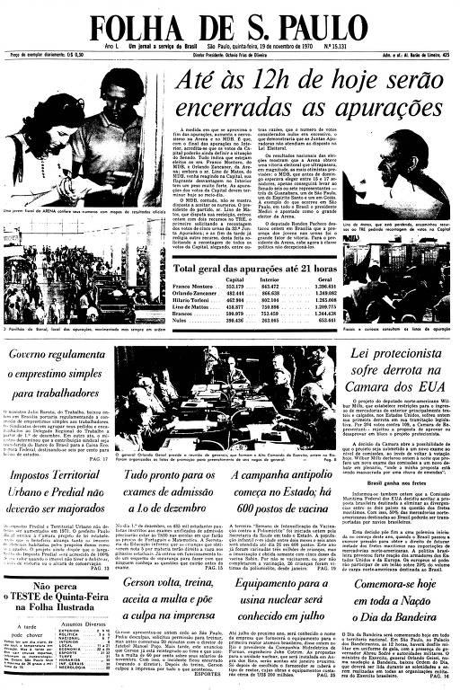 Primeira Página da Folha de 19 de novembro de 1970