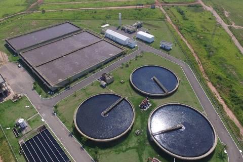 Estação de Tratamento de Esgoto (ETE) Bela Vista, em Piracicaba; a construção da ETE pela Concessionária Mirante foi um marco para que o município tivesse 100% do esgoto tratado