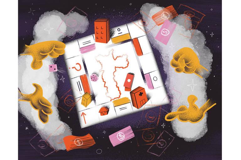 Mãos jogam dados sobre um tabuleiro de banco imobiliário